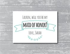 Will You Be My Maid of Honor Card 5x7 DIY by CreativePapier, $5.00