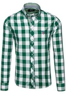 Zielona koszula męska w kratę z długim rękawem Bolf 6888