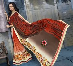 Orange Colored Printed Faux Georgette Saree Sarees on Shimply.com