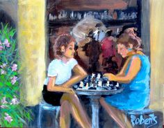 """Chess mates"" by Rosalind Roberts. Acrylic painting on Canvas, Subject: People and portraits, Impressionistic style, One of a kind artwork, Signed on the front, This artwork is sold unframed, Size: 30 x 24 x 1 cm (unframed), 11.81 x 9.45 x 0.39 in (unframed), Materials: acrylic on canvas"