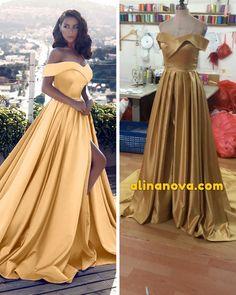 long gold prom dress off the shoulder evening gown Gold Prom Dresses, Elegant Prom Dresses, Beautiful Prom Dresses, Satin Dresses, Evening Dresses, Bridesmaid Dresses, Strapless Dress, Lace Dress Black, Burgundy Dress