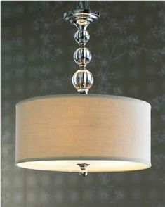 miscellaneous - Glass Ball, Chandelier, light fixture, drum shade, Horchow Glass Ball Chandelier Glass balls and a linen drum shade give this