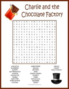Charlie and the Chocolate Factory word search puzzle worksheet activity for kids. Would be great for a Charlie and the Chocolate Factory party. Chocolate Party, Homemade Chocolate, Melting Chocolate, Hot Chocolate, Roald Dahl Activities, Activities For Kids, Charlie And The Chocolate Factory Crafts, Roald Dahl Day, Blackberry Syrup