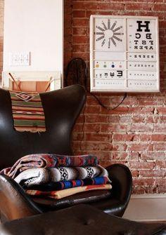 navajo blankets and eye chart