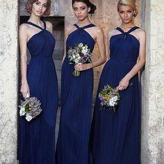 2016 nuevo diseño Halter azul marino dama de honor vestidos plisados gasa dama de honor vestidos Halter A-Line Wedding Party largo vestidos(China (Mainland))
