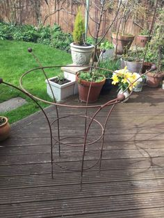 2 Vintage Garden Wrought Iron Peony Cages, Plant Supports in Garden & Patio, Garden Ornaments, Other Garden Ornaments | eBay