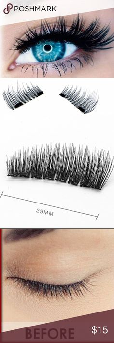 "3D Magnetic False Fake Eyelashes Double Magnets Magnetic False Fake Eyelashes with Double Magnets, black lashes, soft and comfortable. Your eyelashes will be so full and beautiful! Easy and safe to apply. Includes a ""how to"" application card and a storage case to keep the eyelashes in when you're not wearing them. (A8) Kerry On Fashions Makeup False Eyelashes"