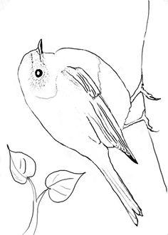 Rotkehlchen als Ausmalbild. Typisch ist das stark ausgeprägte rote Brustgefieder. Bird Embroidery, Embroidery Patterns, Watercolor Animals, Watercolor And Ink, Bird Drawings, Easy Drawings, Bird Outline, Animal Templates, Beadwork Designs