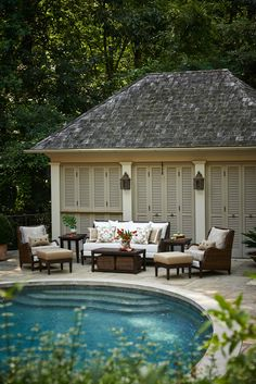 Porches, Pergolas, Gazebos Ideas and concepts - Pool Ideas - Pool #RealPalmTrees An exciting new addition... Newport Upholstered outdoor seating!