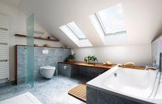 badezimmer dachschräge fenster badewanne graue fliesen