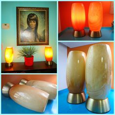 VTG 1970s MOD Swanky Retro Amber Art Glass Tube Table Gold Accent Lamps