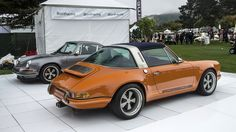 Singer Vehicle Design debuted an orange Porsche 911 Targa and a gunmetal gray coupe recreation at the Quail Motorsports Gathering in Monterey, California. Porche 911, Porsche 911 Targa, Porsche Cars, Singer Porsche, Classy Cars, Sexy Cars, Jeep Wrangler, Classic European Cars, Custom Cars