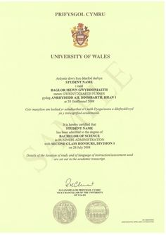 Bsc degree certificate