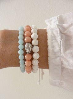 3 beaded bracelets  buddha bracelets  yoga by the sea beach bohemian by beachcombershop