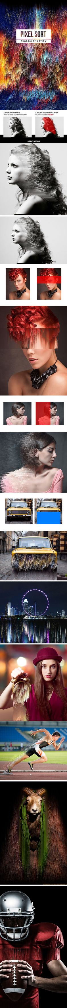 Pixel Sort Photoshop Action - Photo Effects Actions