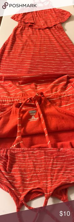 Girls Old Navy sun dress with criss/cross straps Girls old navy sun dress with criss/cross straps size 6/7 orange with cram colored striped super cute! Old Navy Dresses Casual