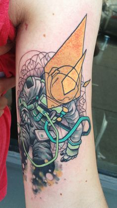 Science and astronomy inspired astronaut tattoo. First tattoo for #ohstarstuff good job matt! mike moses www.thedrowntown.com
