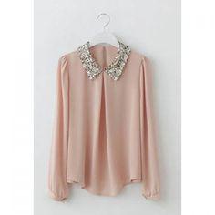 Retro Sequin Embellished Turndown Collar Puff Sleeve Chiffon Women's Shirt — 12.19 € Size: M Color: PINK