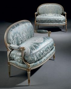 A PAIR OF LOUIS XVI WHITE-PAINTED AND PARCEL-GILT CANAPES