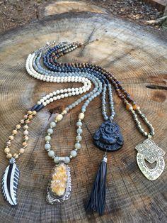 One of a kind beaded pendant necklaces. Buddha, druzy, leaf and Tibetan brass. To purchase the druzy necklace go to www.lisajilljewelry.etsy.com For inquiries email lisajilljewelry@gmail.com