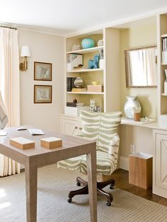 could we make built in bookcases around the windows?? Vintage Inspired Office Design, Pictures, Remodel, Decor and Ideas - page 4