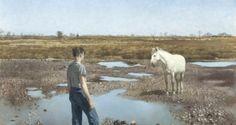 'The White Mare' by Patrick Hennessy at Adam's Love Ireland, Irish Art, Antique Paint, Art Auction, Modern Art, Sculptures, Horses, Fine Art, Antiques