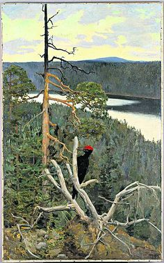 Palokärki The Great Black Woodpecker Akseli Gallen-Kallela oil 1892 private collection Palokärki was painted near Lake Paanajärvi. The great black woodpecker was a symbol of loneliness and freedom for the artist. Gallen-Kallela described the. Landscape Art, Landscape Paintings, Landscapes, Scandinavian Paintings, Nordic Art, Scandi Art, Art Database, Expo, Helsinki