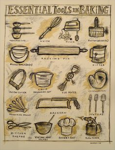Essential Tools in Baking 2012 Dan Grzeca Poster Art Print Baking Recipes, Gourmet Recipes, Martha Stewart, Chef Tattoo, Baking For Beginners, Vintage Baking, Screen Print Poster, Pastry Brushes, Gastronomia