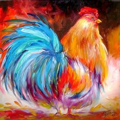 rooster painting by Marcia Baldwin Rooster Painting, Rooster Art, Chicken Painting, Chicken Art, Chickens And Roosters, Acrylic Art, Bird Art, Painting Inspiration, Art Lessons