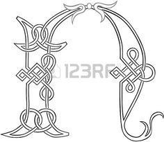 Une lettre Celtic Knot Capital-travail N silhouette stylis�e photo