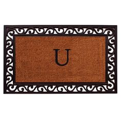 Momentum Mats Rembrandt Monogram Doormat (Letter U), Black