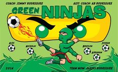 Ninjas-Green-40885 digitally printed vinyl soccer sports team banner. Made in the USA and shipped fast by BannersUSA. www.bannersusa.com