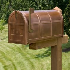 Bartlett Post Mount Copper Mailbox