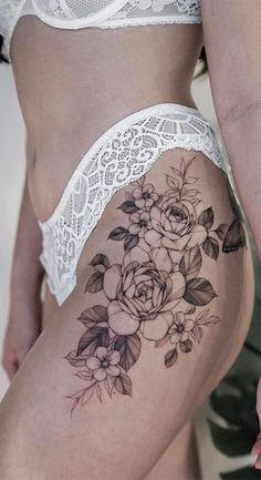 Flower Hip Tattoos, Hip Thigh Tattoos, Floral Thigh Tattoos, Tattoos For Women Flowers, Hip Tattoos Women, Sexy Tattoos, Girl Tattoos, Upper Leg Tattoos, Flower Tattoo On Ribs
