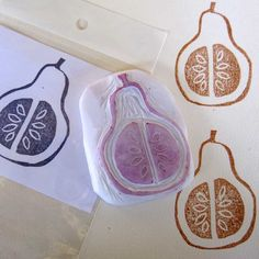 Delightfully cute pear stamp by Ro Bruhn.