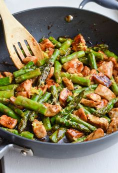 LEMONY CHICKEN STIR FRY WITH ASPARAGUS - I added more veg and doubled the sauce. Next time add ginger