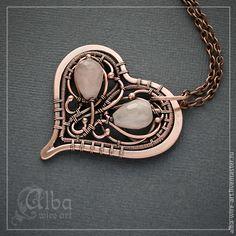 """Купить Медный кулон """"Сердечко"""" с розовым кварцем - бледно-розовый, сердце, сердечко"""