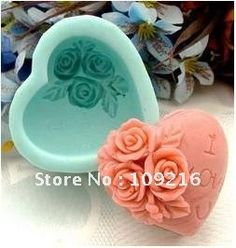 Heart Shaped with Rose Silicone Handmade Soap Mold Crafts DIY Mold on AliExpress.com. 10% off $8.89