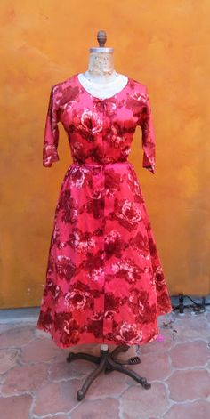 Gorgeous Vintage 1950s 1960s Women's Red Coral Burgundy Watercolor Floral Rose Swing Dress. Lucille Ball by SweetPickinsShop, $105.00