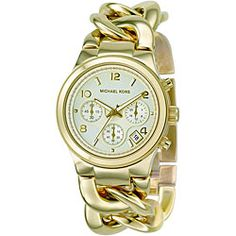 This Michael Kors women's MK3131 bracelet watch combines eye-catching style with extreme functionality. This timepiece is meticulously crafted of goldtone stainless