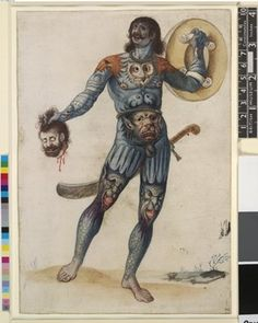 A 'Pict' warrior; nude, body stained and painted with birds, animals and serpents carrying shield and man's head, with scimitar Watercolour touched with white over graphite, with pen and brown ink, 16th century