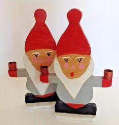 Set of 2 Vtg Wood Xmas Gnome Tomte Candle Holders Danish Swedish Scandinavian