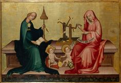 The Virgin Mary and St. Elizabeth with their Children Spinning, ca. 1400, panel, Nuremberg, Germanisches Nationalmuseum