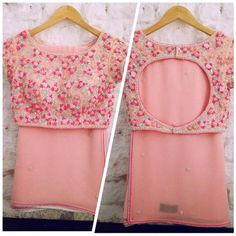 Gorgeous pink blouse and sari Blouse Back Neck Designs, Fancy Blouse Designs, Bridal Blouse Designs, Sari Blouse Designs, Churidar, Anarkali, Kurti, Patiala, Lehenga Saree