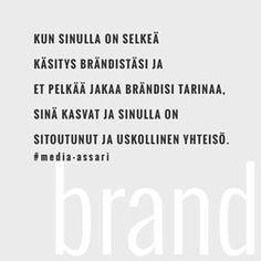 🖤💎...........#brändäys #mediaassari #brändi #olenbrändi #rakennaomabrändisi #yrittäjät #yrittäjä #markkinointi #sosiaalinenmedia #some #digimarkkinointi #branding #brand #brandimage #brandstyle #marketing #henkilöbrändi #brändintarina #tarina Sari, Branding, Instagram, Saree, Brand Management, Brand Identity, Branding Design, Saris
