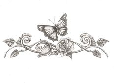 Butterfly Rose Tattoo Designs | butterfly eith rose tattoo design by saramira