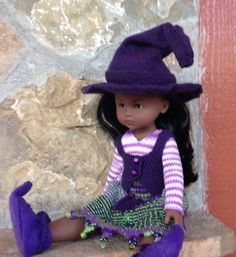 Knitting pattern pdf file for 13 inch doll Witch Halloween Costume, vest, hat, skirt, shirt for Les cheries, Hearts for Heart, Paola Reina by DarceeKnitsForDolls on Etsy