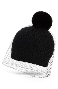 BCBGMAXAZRIA 'Winter Veil' Beanie Black One Size