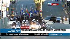 President Cyril Ramaphosa's motorcade arrives for #SONA2018 - via @SABCNewsOnline