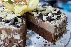Słynny Tort Gutenberg czekoladowo - gruszkowy, Kremowy, z gruszką, tort sacher, ciasto czekoladowe sachera, przepis sacher, ciasto czekoladowe bez proszku do pieczenia, czekoladowy deser, deser z czekoladą, wykwintne ciasta, sprawdzony tort przepis